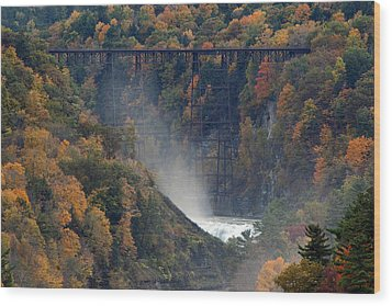 Autumn Trestle Wood Print