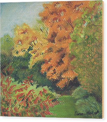 Autumn Uplands Farm Wood Print by Susan Herbst