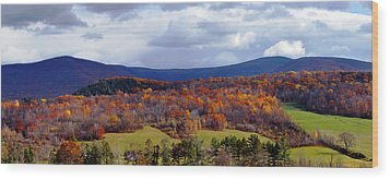 Autumn View Toward Mount Greylock Wood Print by Geoffrey Coelho