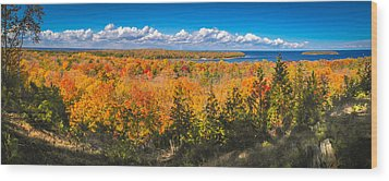 Wood Print featuring the photograph Autumn Vistas Of Nicolet Bay by Mark David Zahn
