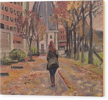 Autumn Walk To The Bonnefanten Wood Print by Nop Briex
