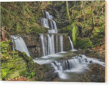 Autumn Waterfall Wood Print by Ian Mitchell