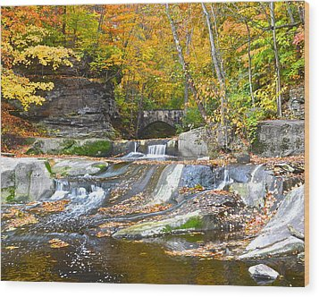Autumn Waterfall Wood Print by Frozen in Time Fine Art Photography