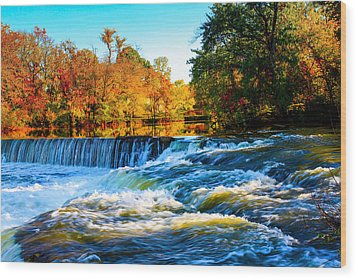 Amazing Autumn Flowing Waterfalls On The River  Wood Print