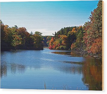 Autumn Waterway Wood Print by Aimee L Maher Photography and Art Visit ALMGallerydotcom