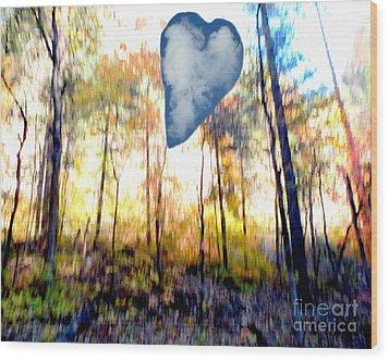 Autumn West Fork Bell Rock Heart Cloud Wood Print by Marlene Rose Besso