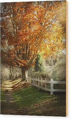 Autumn - Westfield Nj - I Love Autumn Wood Print by Mike Savad
