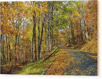 Autumn Winding Road Wood Print by Kevin Cable