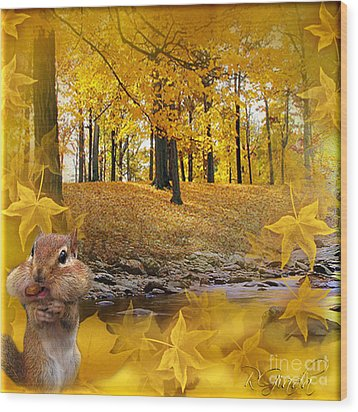 Wood Print featuring the digital art Autumn With A Squirrel - Autumn Art By Giada Rossi by Giada Rossi