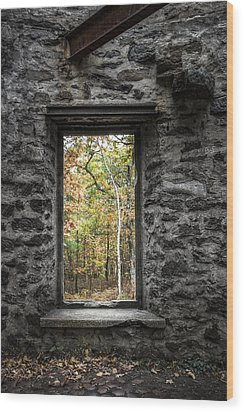 Autumn Within Cunningham Tower - Historical Ruins Wood Print by Gary Heller