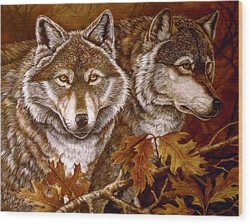 Autumn Wolves Wood Print by Sandy Williams