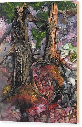 Wood Print featuring the painting Autumn Woods by Sherry Shipley