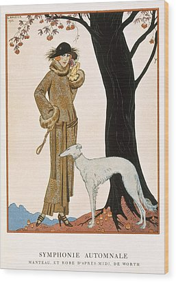 Autumnal Symphony Afternoon Coat And Dress By Worth Wood Print by Georges Barbier