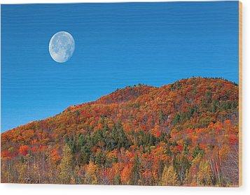 Wood Print featuring the photograph Autumn's Big Moon  by Larry Landolfi