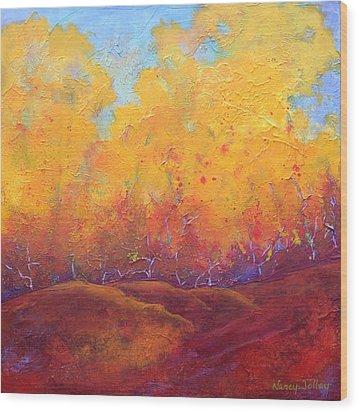 Autumn's Blaze Wood Print by Nancy Jolley