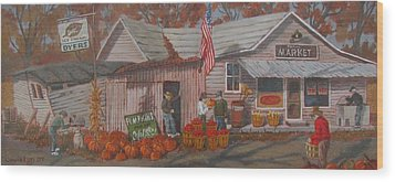 Wood Print featuring the painting Autumn's Charm by Tony Caviston