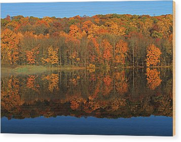 Autumns Colorful Reflection Wood Print by Karol Livote