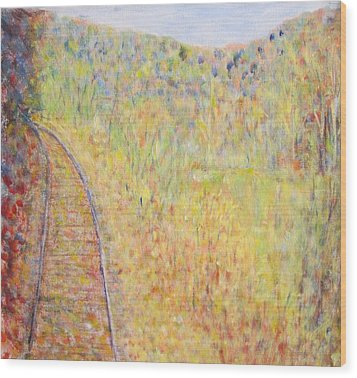 Autumns Maple Leaves And Train Tracks Wood Print