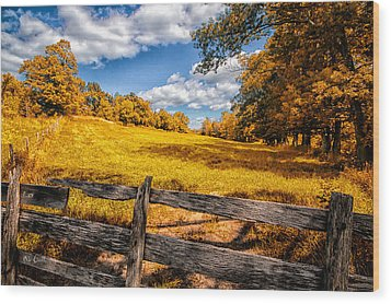 Autumns Pasture Wood Print by Bob Orsillo