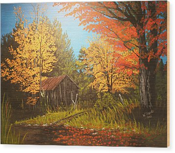 Wood Print featuring the painting Autumns Rustic Road by Wendy Shoults