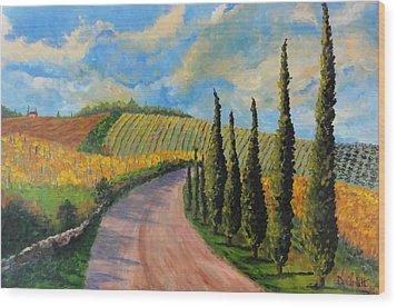 Autunno Toscano Wood Print by Diane Arlitt