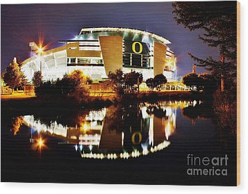 Autzen At Night Wood Print