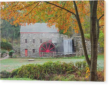 Auutmn At The Grist Mill Wood Print by Michael Blanchette