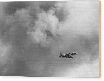 Av-8b Harrier Flies Through The Smoke Of War Wood Print by Peter Tellone
