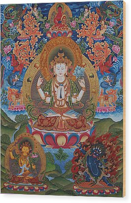 Avalokitesvara The Great Compassionate One Wood Print by Art School
