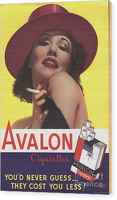 Avalon 1930s Usa Glamour Cigarettes Wood Print by The Advertising Archives