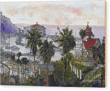 Avalon Harbor Early Morning Wood Print