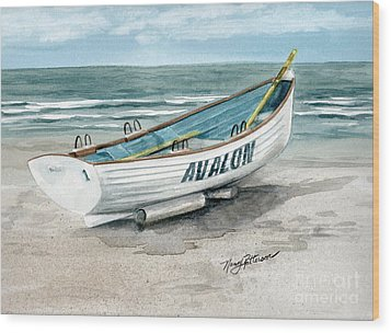 Avalon Lifeguard Boat  Wood Print