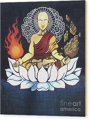 Avatar Aang Buddha Pose Wood Print by Jin Kai