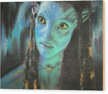 Wood Print featuring the pastel Avatar by Lori Ippolito