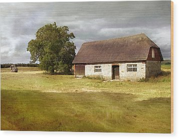 Avebury Cottage Tree And Standing Stone Wood Print
