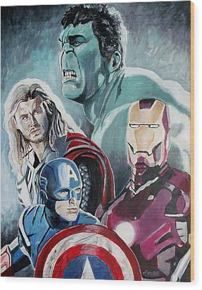 Avengers Wood Print by Jeremy Moore