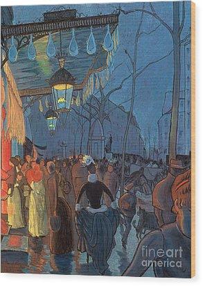 Avenue De Clichy Paris Wood Print by Louis Anquetin