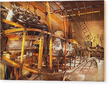 Aviation - Early Days Of Aviation Wood Print by Mike Savad