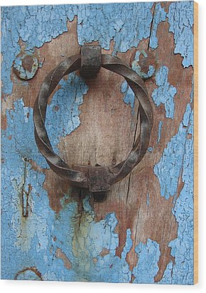 Wood Print featuring the photograph Avignon Door Knocker On Blue by Ramona Johnston