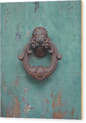 Avignon Door Knocker On Green Wood Print by Ramona Johnston