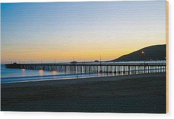 Avila Beach Pier Sunset Wood Print