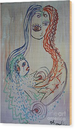 Wood Print featuring the painting Avi's Madonna by Avonelle Kelsey