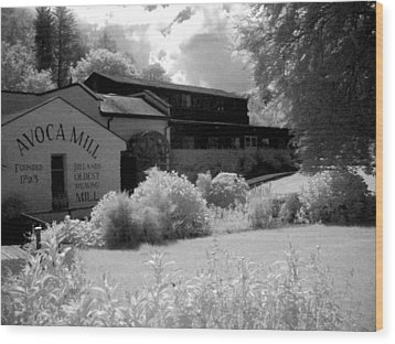 Avoca Mill Infrared Wood Print by Paulette Mortimer