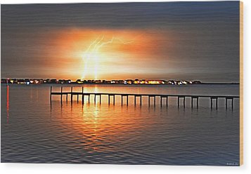 Wood Print featuring the photograph Awesome Lightning Electrical Storm On Sound by Jeff at JSJ Photography