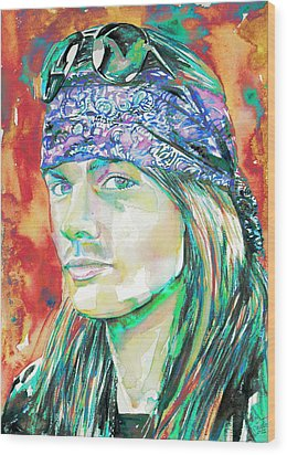 Axl Rose Portrait.2 Wood Print by Fabrizio Cassetta