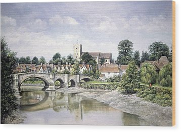 Wood Print featuring the painting Aylesford Bridge by Rosemary Colyer