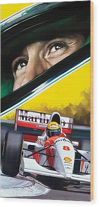 Ayrton Senna Artwork Wood Print by Sheraz A