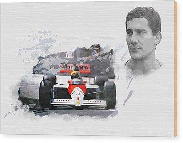 Ayrton Senna Genius Wood Print