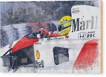 Ayrton Senna Mclaren 1991 Hungarian Gp Wood Print by Yuriy Shevchuk