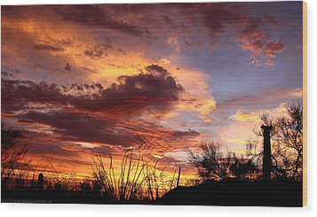 Az Monsoon Sunset Wood Print by Elaine Malott